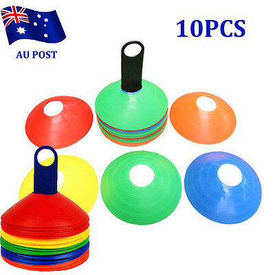 10 Pack Sports Training Discs Markers Cones Soccer Afl Exercise Personal Fitness