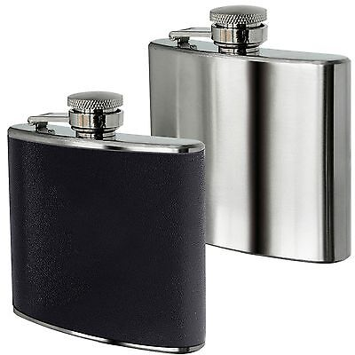 Amazing New Hip Flask 5oz Brush Stainless Steel & Black Leather Effect Whisky