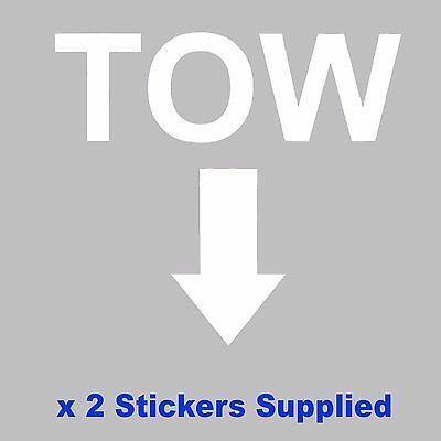 2 x MSA Specification - WHITE TOW Arrow Race / Rally Car Decals / Stickers
