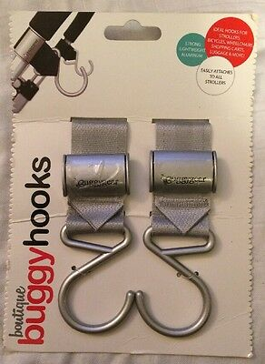 BUGGYGEAR Boutique Stroller Hooks, Silver, 2 Count, New