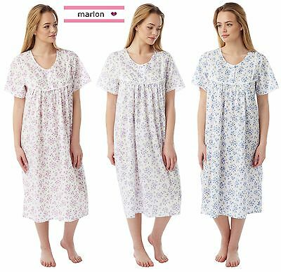 Ladies Poly Cotton Floral Sprig Short Sleeve Nightie Sizes 10- 30 Plus Sizes