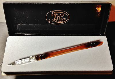 """From Paris: Elegant Nore Hand Crafted Glass Fountain Pen 7"""" Amber/Clear"""