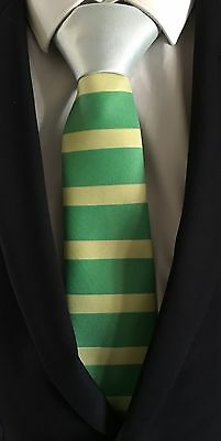 Horse Racing Tie - Green and Yellow Striped