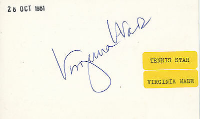 Virginia Wade SIGNED AUTOGRAPH Tennis Index Card AFTAL UACC RD
