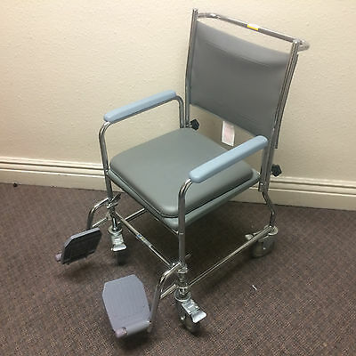 NRS Healthcare Wheeled Commode/Over Toilet Chair with Padded Seat and Back