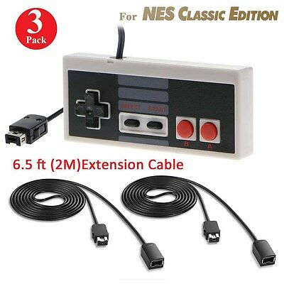Controller For Nintendo Nes Classic Mini Edition + 2* 6 Ft Extension Cable In Us