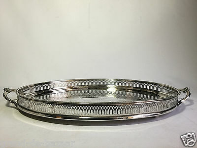 Vintage Cavalier Silver Plated Gallery Platter / Tray ( 42cm with handles)