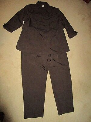 Women's Size 2X Duo Maternity 3 Piece Pants Skirt Jacket Suit Pinstripe Brown