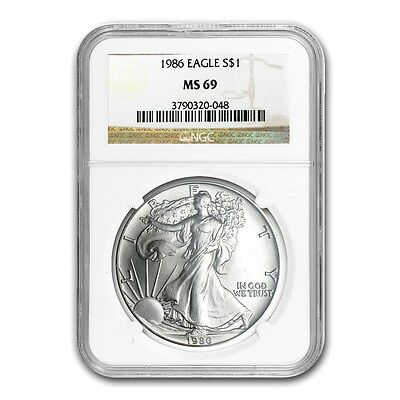1986 Silver American Eagle MS-69 (Near Perfect) .999 1 Troy Oz 1st Year Minted