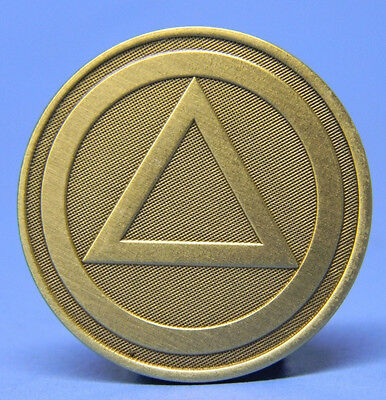 Bronze Chip - Medallion - Alcoholics Anonymous Triangle-  Recovery - Sobriety