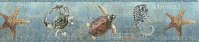 Coastal Ocean Starfish, Turtle, Seahorse Easy Walls Wallpaper Border DLR53533B