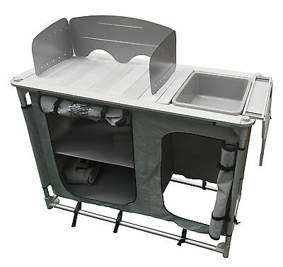 ALUMINIUM super light CAMPING KITCHEN WITH SINK + BOWL in CARRY BAG caravan