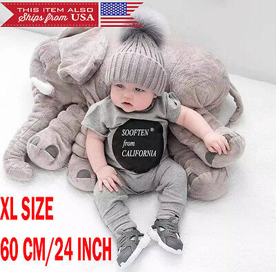 60 cm Elephant Pillow XL Cushion Stuffed Doll Toy Baby Kids Soft Plush from USA