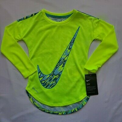 Nike Girls Long Sleeve Dri-Fit Shirt 4, 5, 6, 6X Pink Yellow Black Purple $38