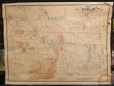 Dublin New Hampshire Town Map 1906 1853 Fisk Wadsworth Large Cloth Wall roll up