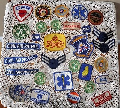 Vintage lot of Embroidered Patches(30) Civil Air Patrol,Gulf,Stroh's,U.S Navy,RX