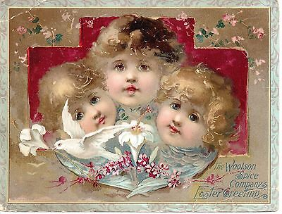 Lion Coffee Woolson Spice Co Victorian Advertising Trade Card Easter Greeting