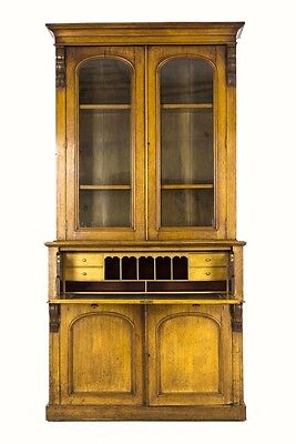 B304 Ant. Scottish Victorian Oak Secretary,Fall Front Desk,Bookcase