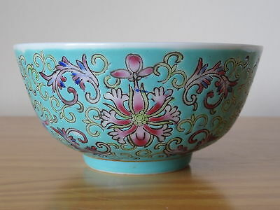 c.19th - Antique Chinese Famille Rose Turquoise Guangxu Porcelain Bowl Qing