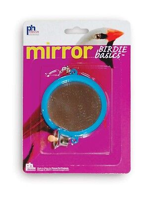 Prevue Pet Products Birdie Basics Two Sided Round Mirror with Bell Bird Toy