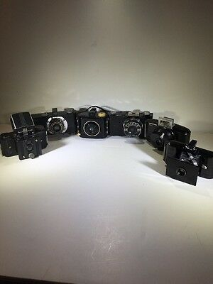 Lot of 6 Vintage Film Camera's Kodak, Argus, Falcon, Univex,  etc. Bakelite Deco