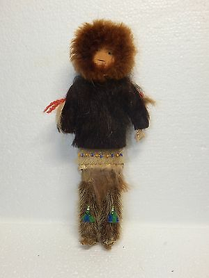 """Vintage Inuit Eskimo Doll: traditional fur clothing, about 7"""""""