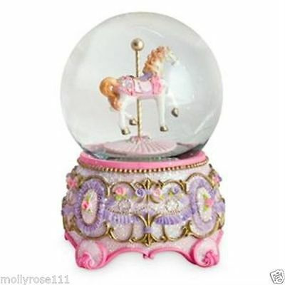 Large Pink Purple Horse Carousel Musical Snowglobe Glitter Roses Water Ball