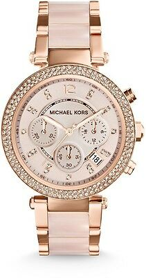 MK5896 - Michael Kors Women's Chronograph Parker Blush and Rose Gold-Tone Stainl