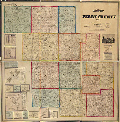 1859 Farm Line Map of Perry County Ohio LARGE 40 x 40