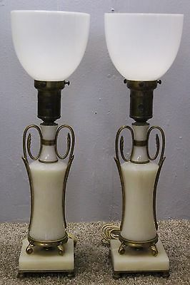 Unique Pair Of Marble Desk Lamp Applied bronze Milk Glass Shade