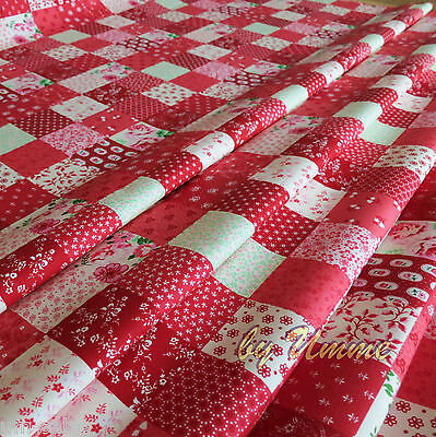 Red Patchwork Squares material Roses printed Floral 100% Cotton Fabric - Sewing