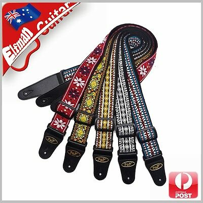 Guitar Strap Cotton Webbing Leather End Acoustic Electric Bass Pattern Multiple