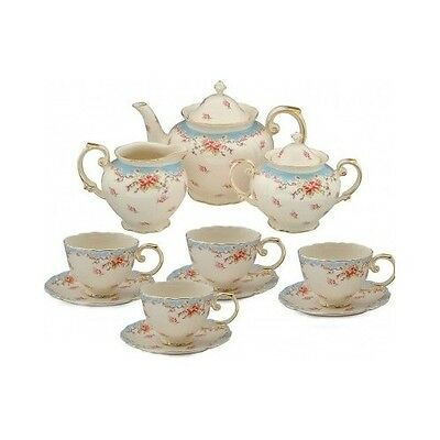 English Style Tea Set 11pc Porcelain BLUE Rose Teapot Coffee Creamer Vintage Cup
