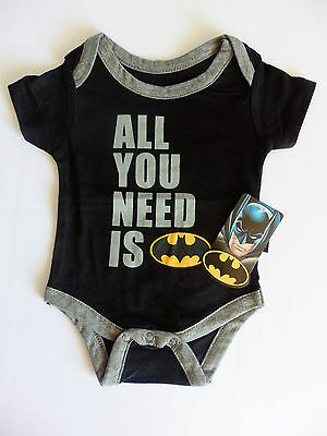 Batman Baby Boys Bodysuit Size 0-3 And 6-9 Months