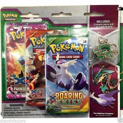 POKEMON Mega Rayquaza Pin 3-Pack Blister: Pokemon TCG Roaring Skies booster!