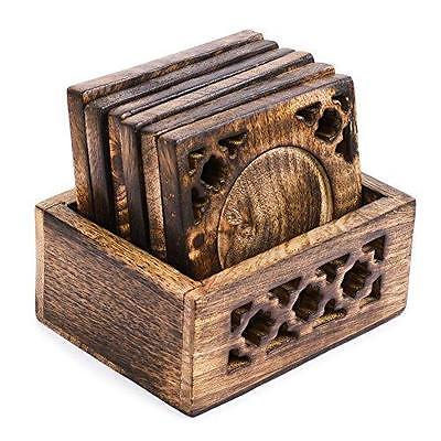 Handmade Indian Wooden Tea Coffee Drink Table Coaster Set of 6 w/ Holder Gift