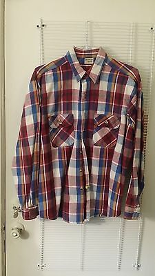 Mens Vintage Five Brothers Red Blue Plaid Long Sleeve Xl Shirt Free Shipping