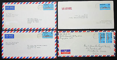 Singapore Airmail Set of 4 Covers Coaster Stamps $1 Singapur Lupo Briefe H-8586+