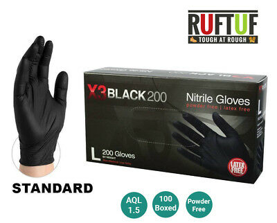 Box of 100 Black Nitrile Powder & Latex Free Disposable Gloves Tattoo Mechanic