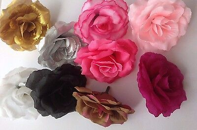 3  Artificial Simulation Silk Gold/Silver/Black Camellia Rose Flower Head 7cm