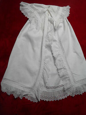 Exquisite French Cotton Lace Vintage Christening Cape