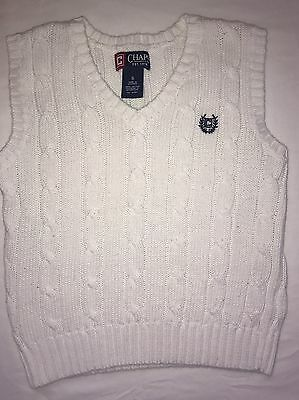 Boys Size 5 Chaps White Sweater Vest Dress Up Church Easter Wedding