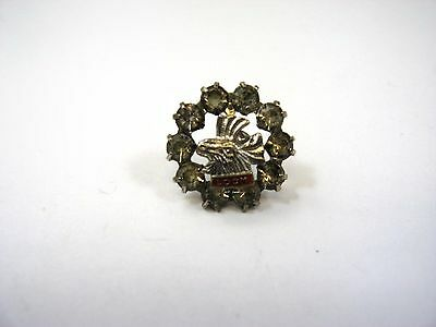 Vintage Collectible Pin: LOOM Loyal Order of Moose Clear Jewel Border Design