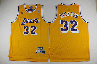 NEW Los Angeles Lakers Magic Johnson #32 YELLOW Jersey Swingman