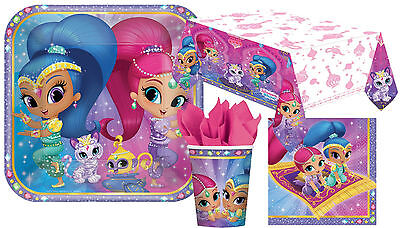Shimmer And Shine Party Complete Kit 8 - 48 Guests Tableware Plates Cups Napkins