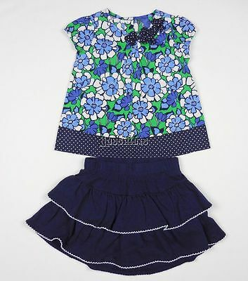 NEW Gymboree Spring Prep 2pc Skirt Outfit Set Navy Green White Floral 2T NWOT