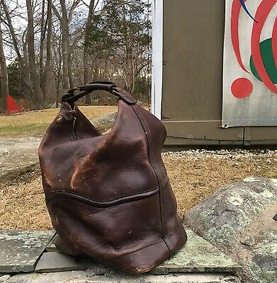 Vintage 1930s-40s SWISS thick LEATHER DUFFLE BAG Luggage ~ Carry On ~ DISTRESSED