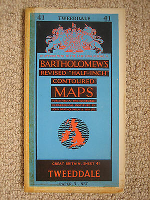 Bartholomews half-inch map 41 Tweeddale 1961 paper edition in good condition