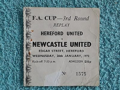 1972 - HEREFORD UTD v NEWCASTLE UTD - MATCH TICKET - FA CUP 3RD ROUND REPLAY