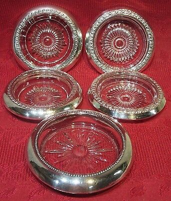 5 Sterling Silver Glass Coasters w/Floral Pattern-2 Watrous Sterling